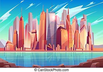 New York city skyline cartoon vector background