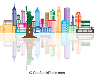 New York City Skyline Color Illustration - New York City...