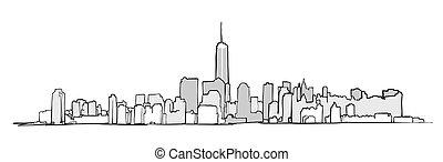 New York City Skyline Drawing