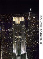 New York City Skyline East River Chrysler Building Night -...