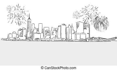 New York City Skyline Firework Sketch