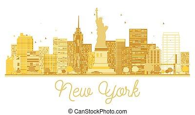 New York City skyline golden silhouette.