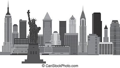 New York City Skyline Illustration - New York City Skyline...