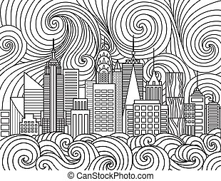 New York City Skyline - Line art design of New York City...