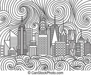 New York City Skyline - Line art design of New York City ...