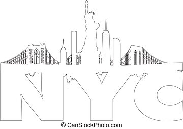 New York City skyline outline vector