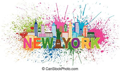 New York City Skyline with Statue of Liberty Abstract Paint Splatter Colorful Text Illustration