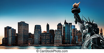 New York City skyline panorama with Statue of Liberty
