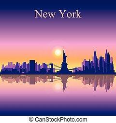 New York city skyline silhouette background