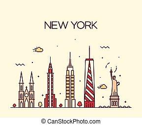 New York City skyline silhouette line art style