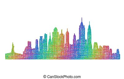 New York City skyline silhouette - multicolor line art