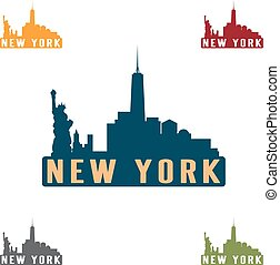 New York city skyline silhouette vector design template