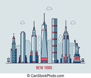 New York city skyline silhouette vector.