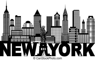 new york city skyline, und, text, schwarz weiß, abbildung