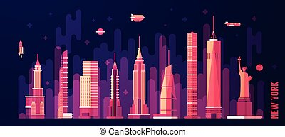 New York city skyline vector flat style
