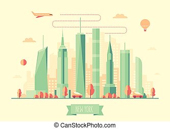 New York city skyline vector illustration flat