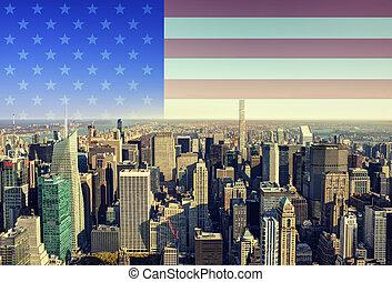 New York city skyline with American flag