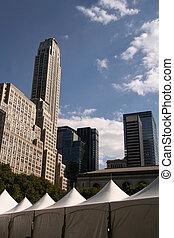 New York City Skyline with Tent