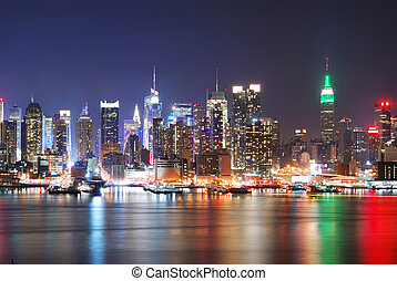 New York City Skyline with Times Square and Empire State...