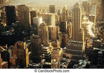 New York City skyscrapers rooftop urban view.