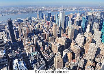 New York City skyscrapers in midtown Manhattan aerial...