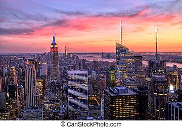 new york city, stadtmitte, an, sonnenuntergang