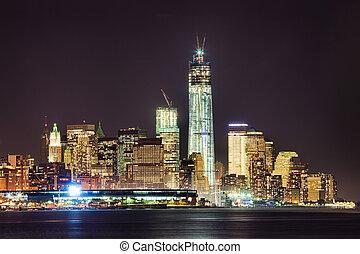 new york city, stadtzentrum, w, der, freiheit, turm