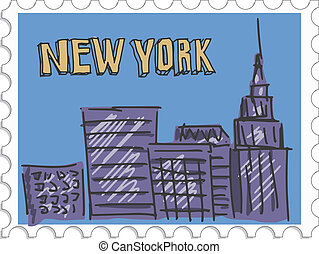New York City - stamp with doodle view of New York