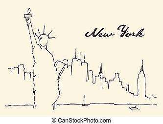 New York city Statue Liberty vector drawn