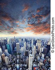 New York City Manhattan skyline aerial view with Empire...