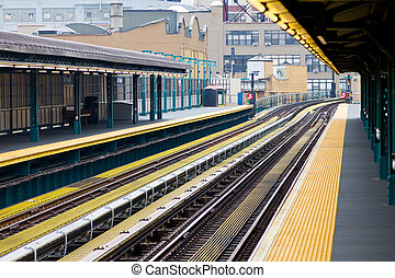 New York City Subway - New York City subway platform and...