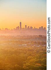 New York City sunrise silhouette