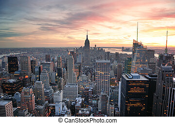 New York City sunset - New York City skyline aerial view at ...
