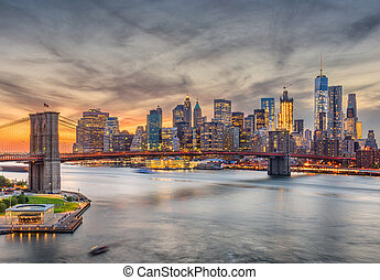 New York City Sunset Skyline