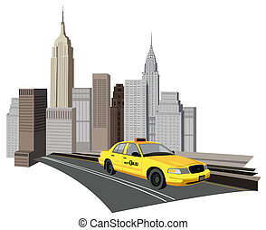 New York City Taxi - Illustration with skyscrapers and new...