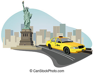 Illustration with skyscrapers, Statue of Liberty and a new york taxi