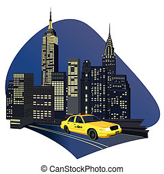 New York City Taxi - Illustration with skyscrapers and a new...