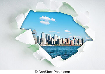 New York city through hole in paper