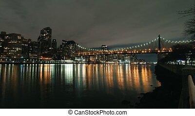 New York City timelapse - night skyline Manhattan...