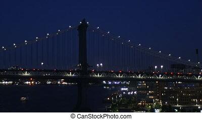 New York city traffic evening city lights over manhattan...