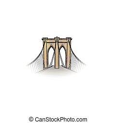 New-York city. Travel NYC icon. American landmark Brooklyn bridge