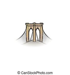 New-York city. Travel NYC icon. American landmark Brooklyn bridge