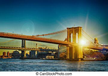 New York City - two bridges at sunset.