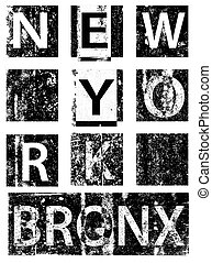 New york city typography, t-shirt graphics, vectors