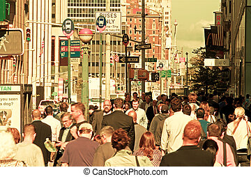 NEW YORK CITY , United States - October 09, 2014: crowded street