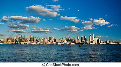 New York City Uptown skyline at the afternoon