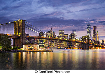 New York City, USA at twilight.