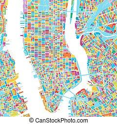 New York City, USA, Colorful Vector Map