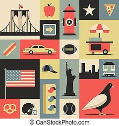 New York City, vector flat illustration, icon set, travel background.