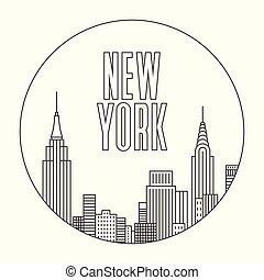 New York city, vector outline illustration